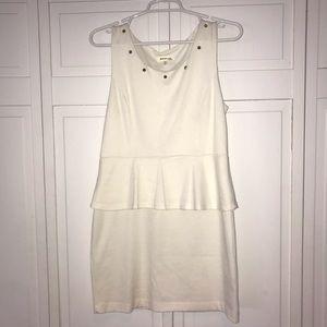 Cream mini dress with gold studs